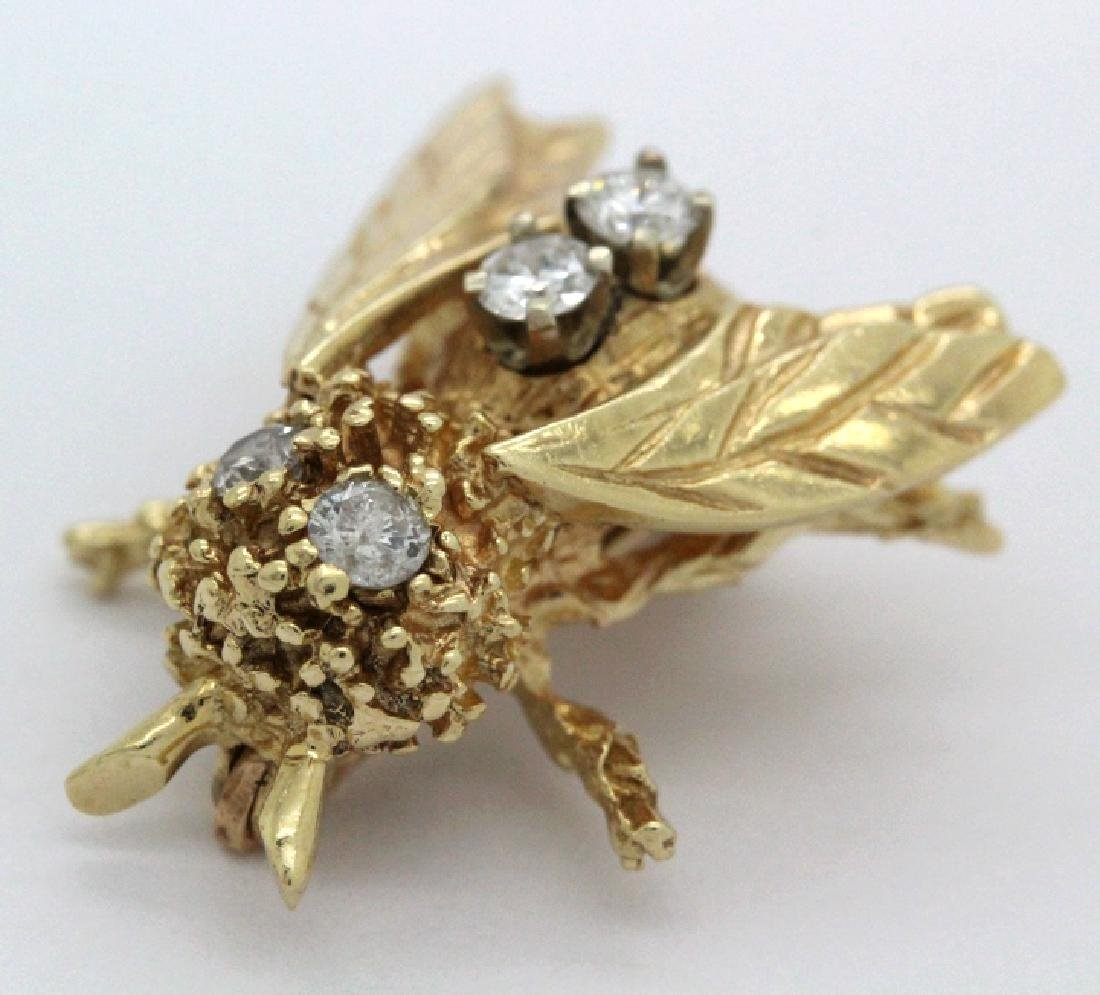 Vintage 14k Gold Diamond Bumble Bee Brooch Pin - 6