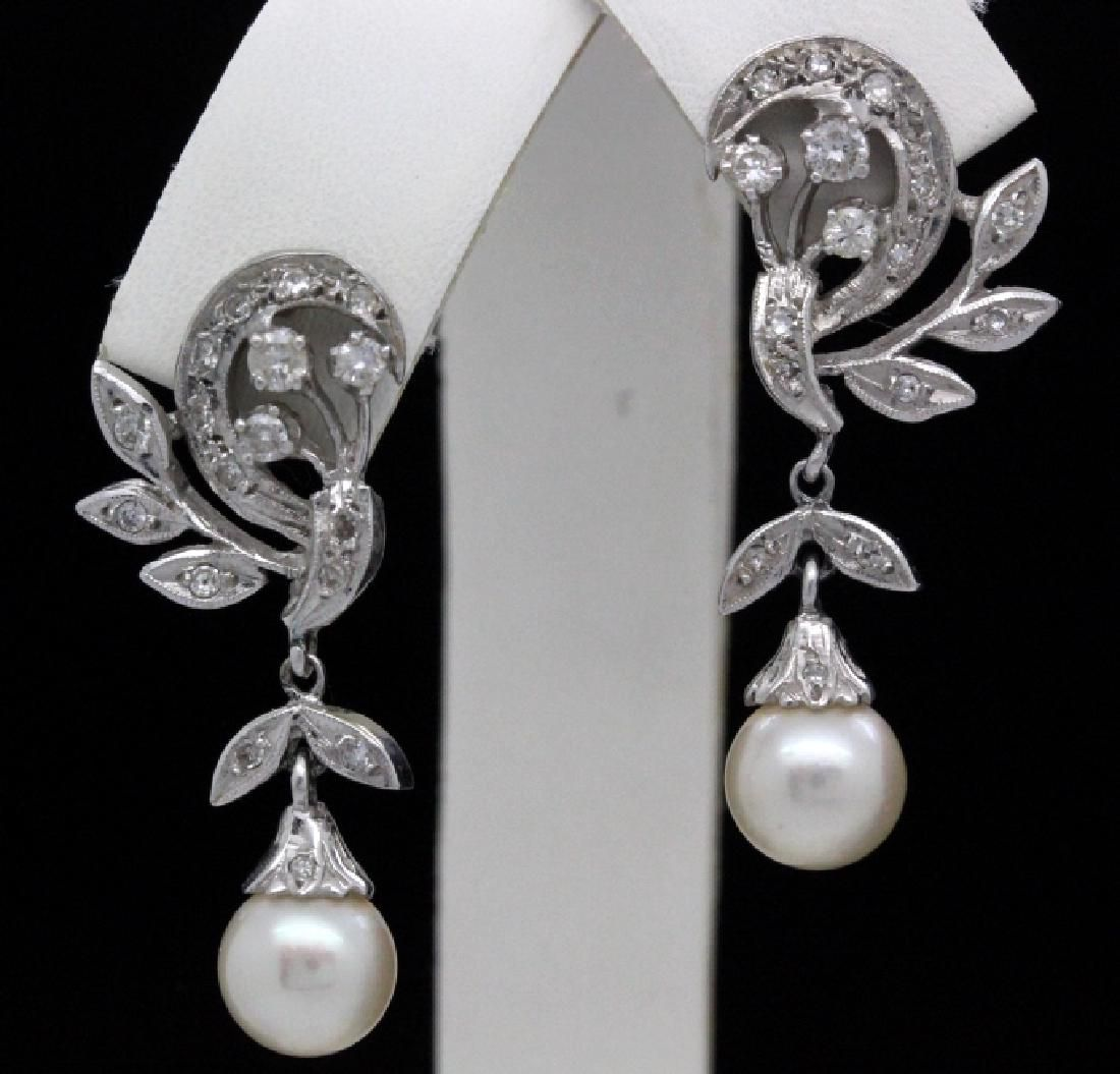 VTG 14k Gold Diamond & Akoya Pearl Drop Earrings