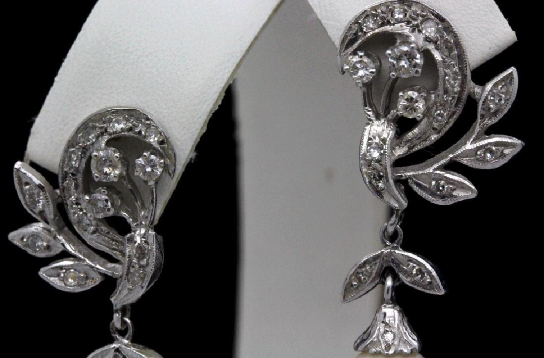 VTG 14k Gold Diamond & Akoya Pearl Drop Earrings - 2