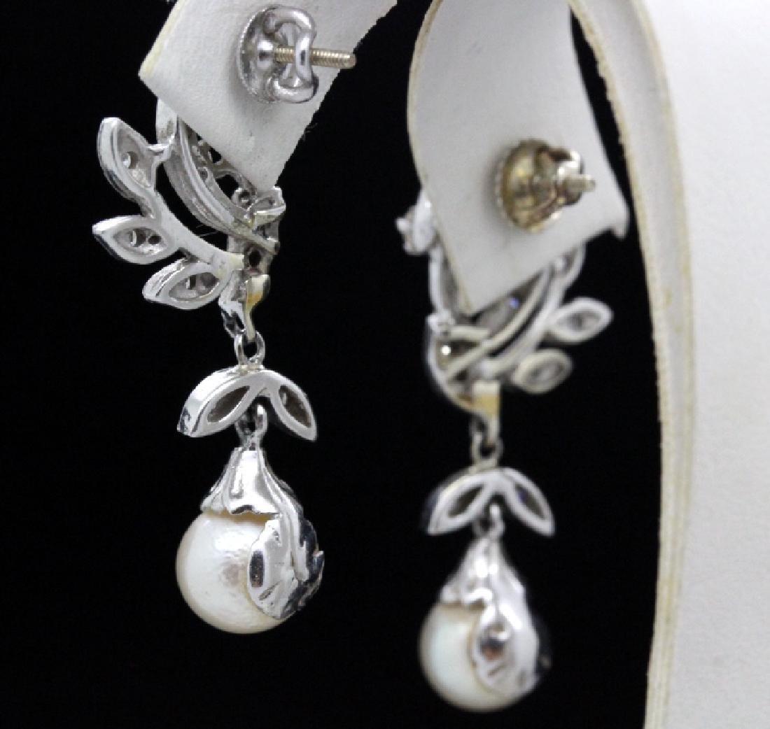 VTG 14k Gold Diamond & Akoya Pearl Drop Earrings - 4