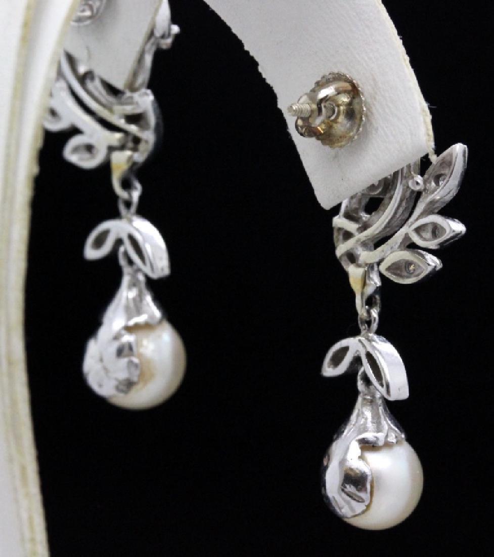 VTG 14k Gold Diamond & Akoya Pearl Drop Earrings - 5