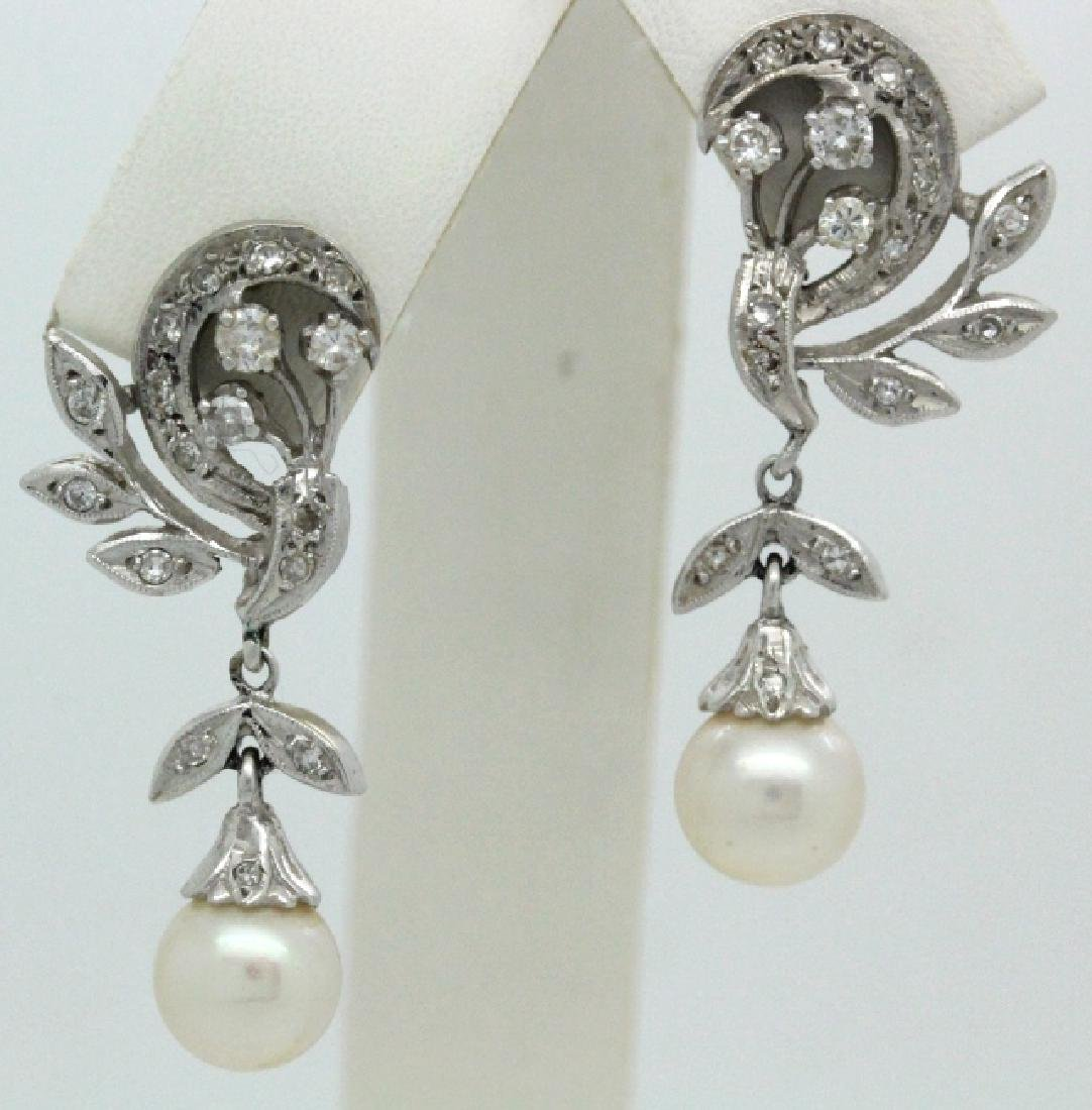 VTG 14k Gold Diamond & Akoya Pearl Drop Earrings - 6