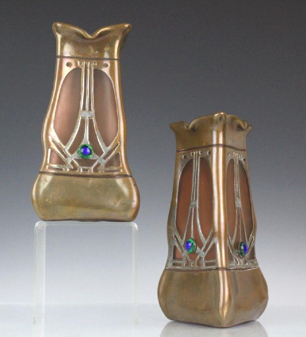 Pair of Bohemian Metal Mounted Art Glass Vases