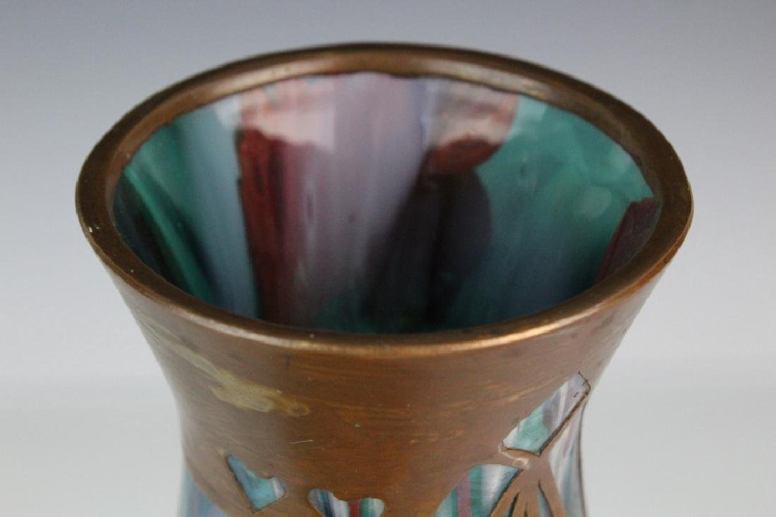 Style Of Koloman Moser Art Glass Copper Vase - 6