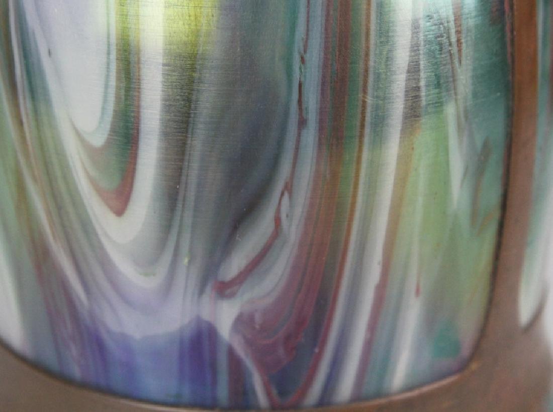 Style Of Koloman Moser Art Glass Copper Vase - 9