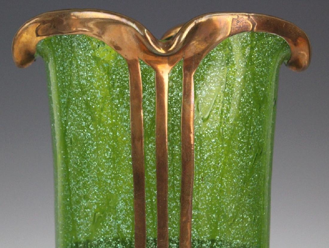 Austrian Secession Art Nouveau Copper & Glass Vase - 3