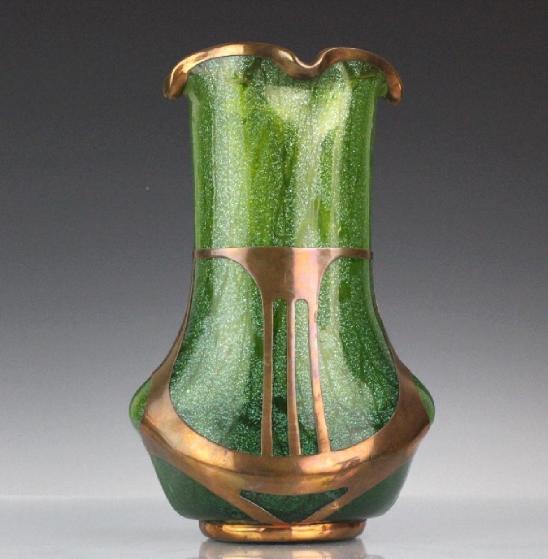 Austrian Secession Art Nouveau Copper & Glass Vase - 6