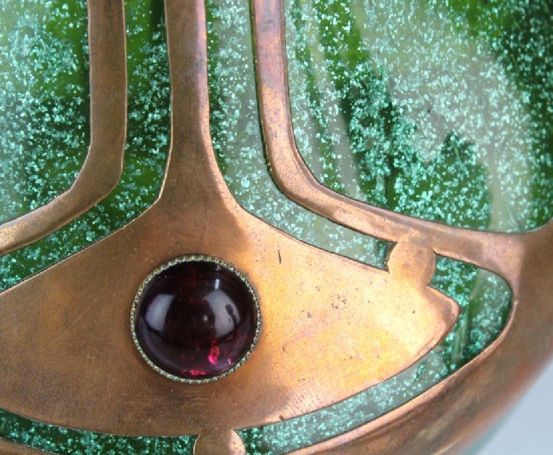 Austrian Secession Art Nouveau Copper & Glass Vase - 9