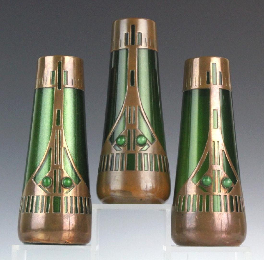 Style of Koloman Moser Art Glass Copper Vase Set 3