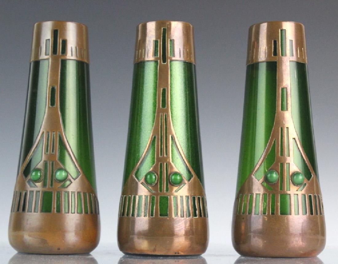 Style of Koloman Moser Art Glass Copper Vase Set 3 - 2