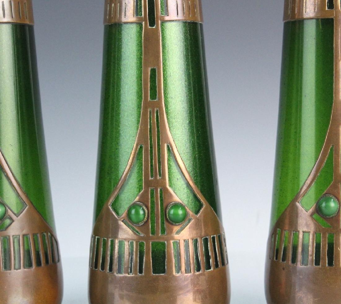Style of Koloman Moser Art Glass Copper Vase Set 3 - 3