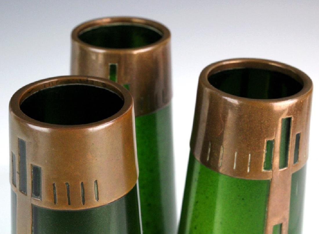 Style of Koloman Moser Art Glass Copper Vase Set 3 - 4