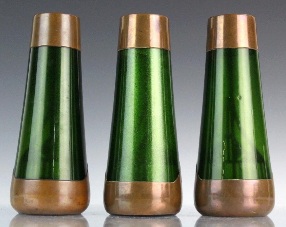 Style of Koloman Moser Art Glass Copper Vase Set 3 - 5
