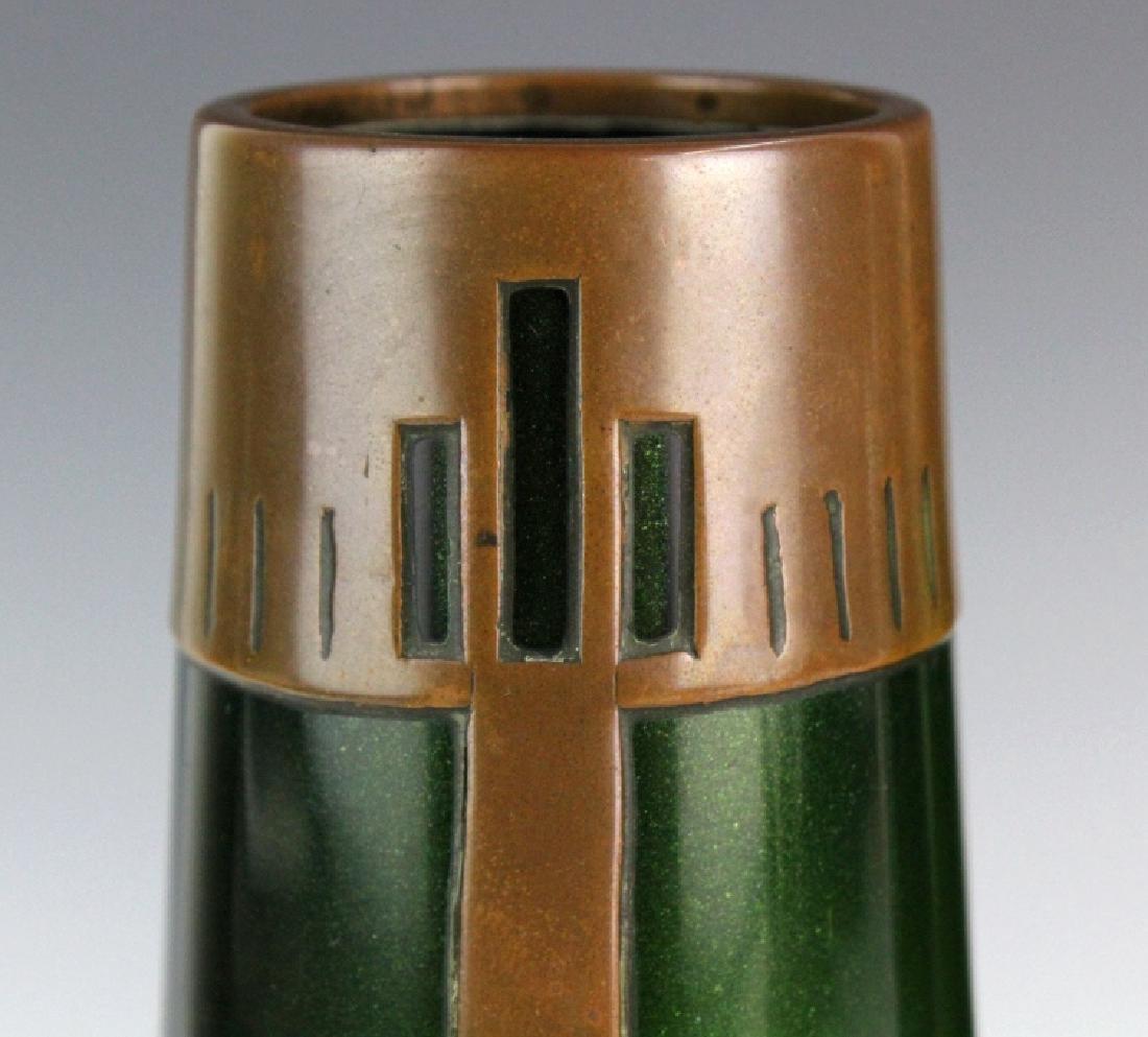 Style of Koloman Moser Art Glass Copper Vase Set 3 - 6