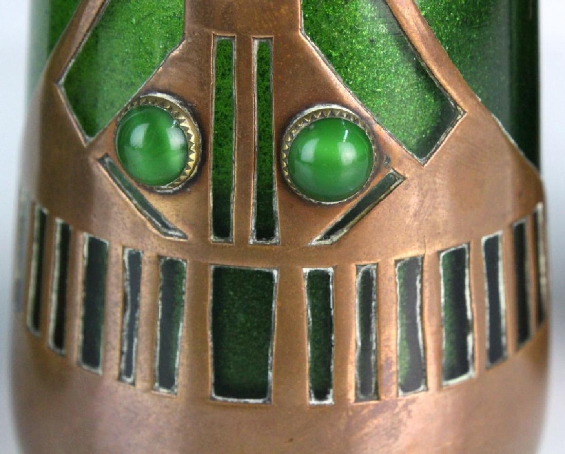Style of Koloman Moser Art Glass Copper Vase Set 3 - 7