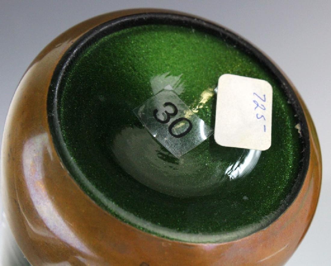 Style of Koloman Moser Art Glass Copper Vase Set 3 - 8