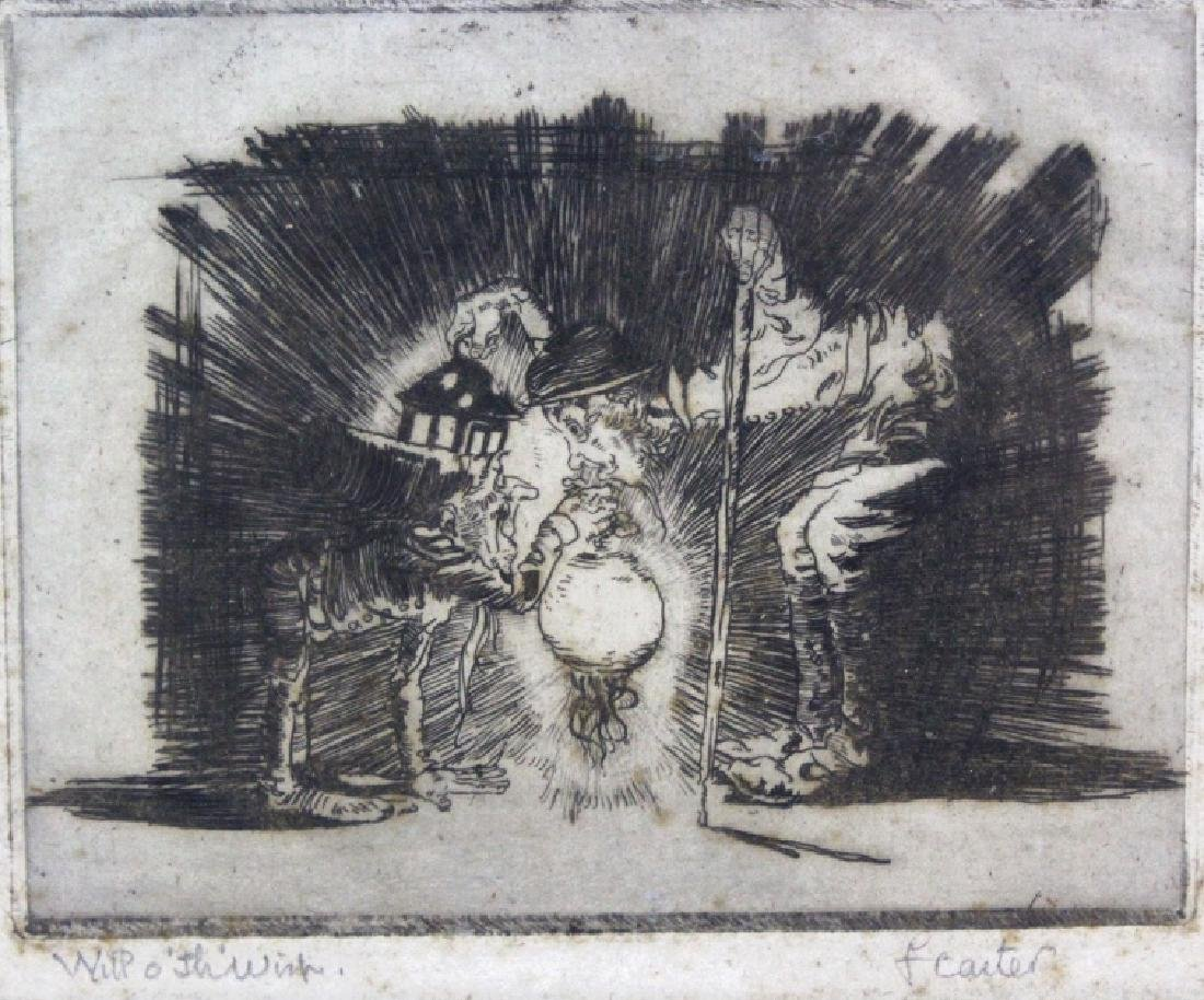 Signed F. Carter Will o' th' Wisp Etching BASS MUSEUM