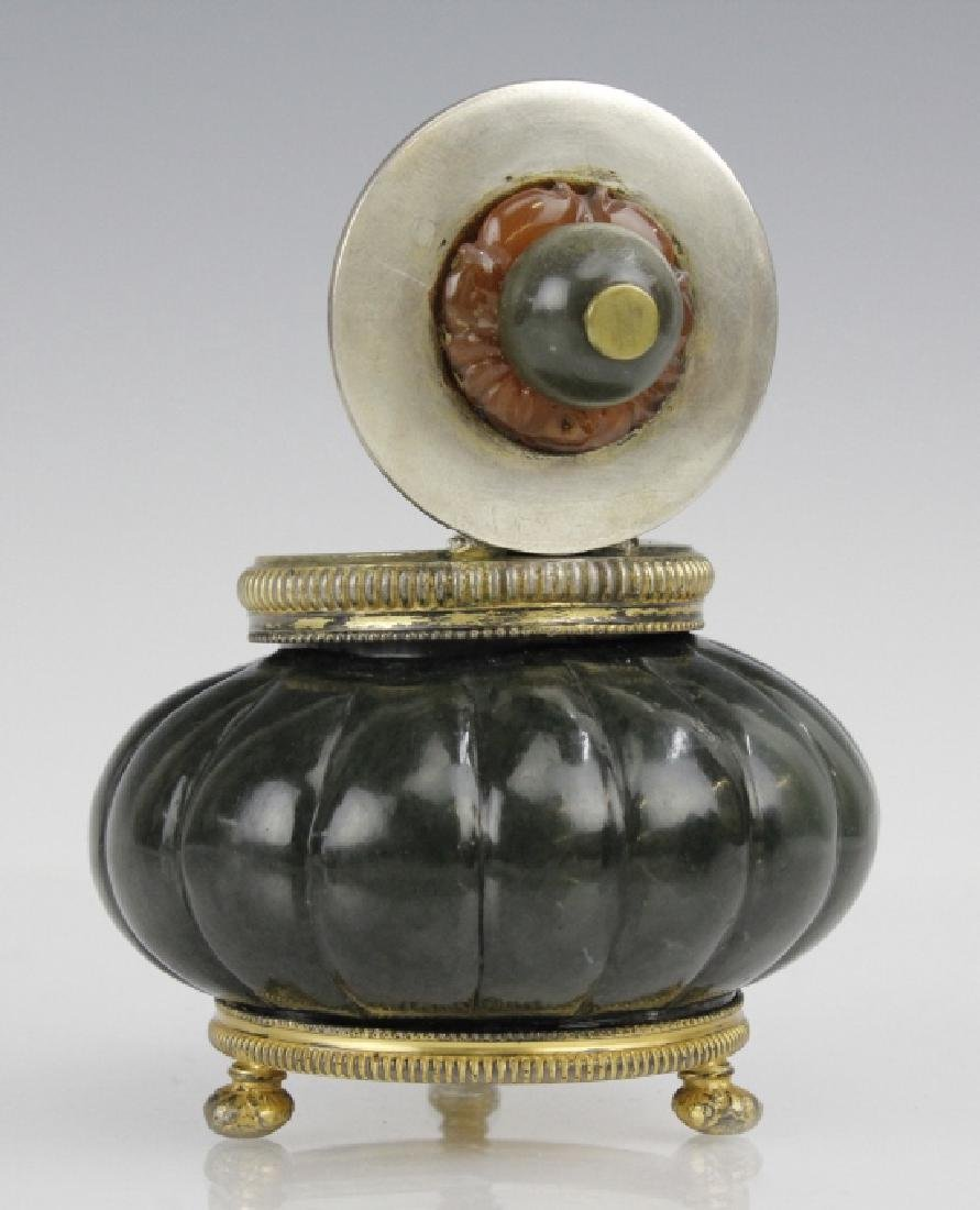 Sterling Silver Mounted Spinach Jade Agate Inkwell - 3
