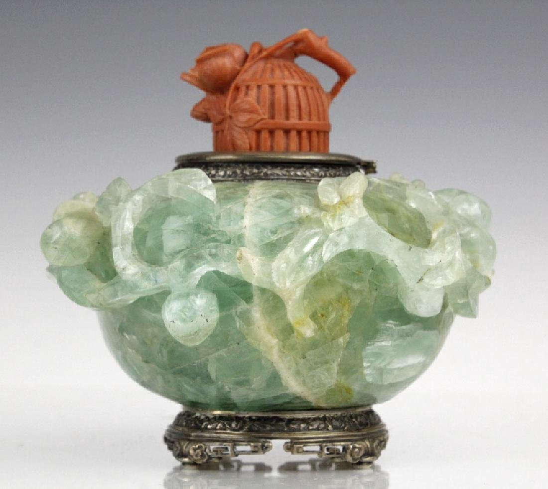 Yamanaka Sterling Silver Jade w/ Red Coral Inkwell