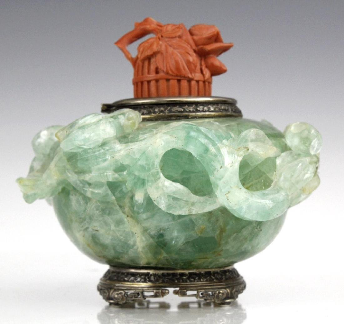 Yamanaka Sterling Silver Jade w/ Red Coral Inkwell - 2
