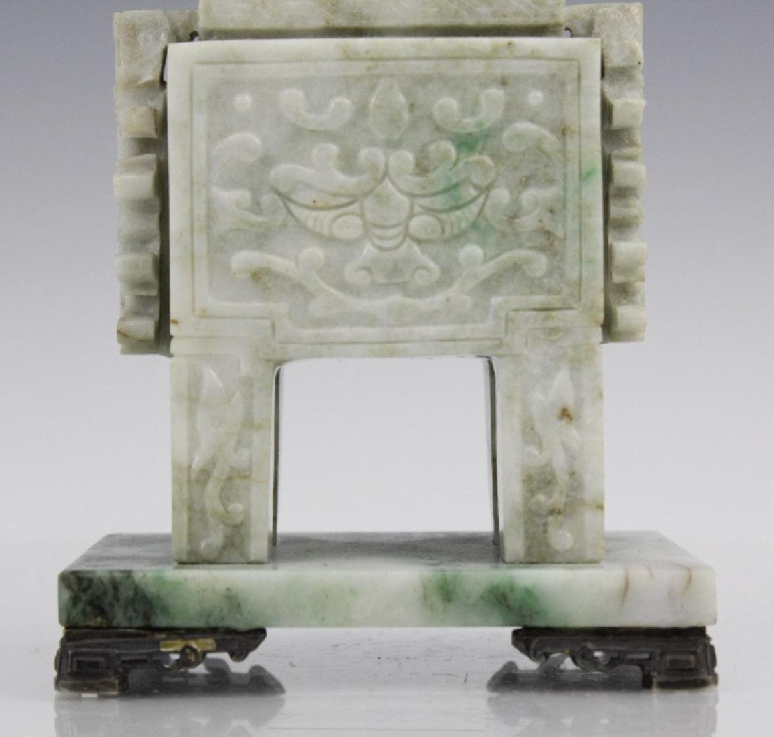 Yamanaka 19th C Carved Jade Sterling Ink Well - 3