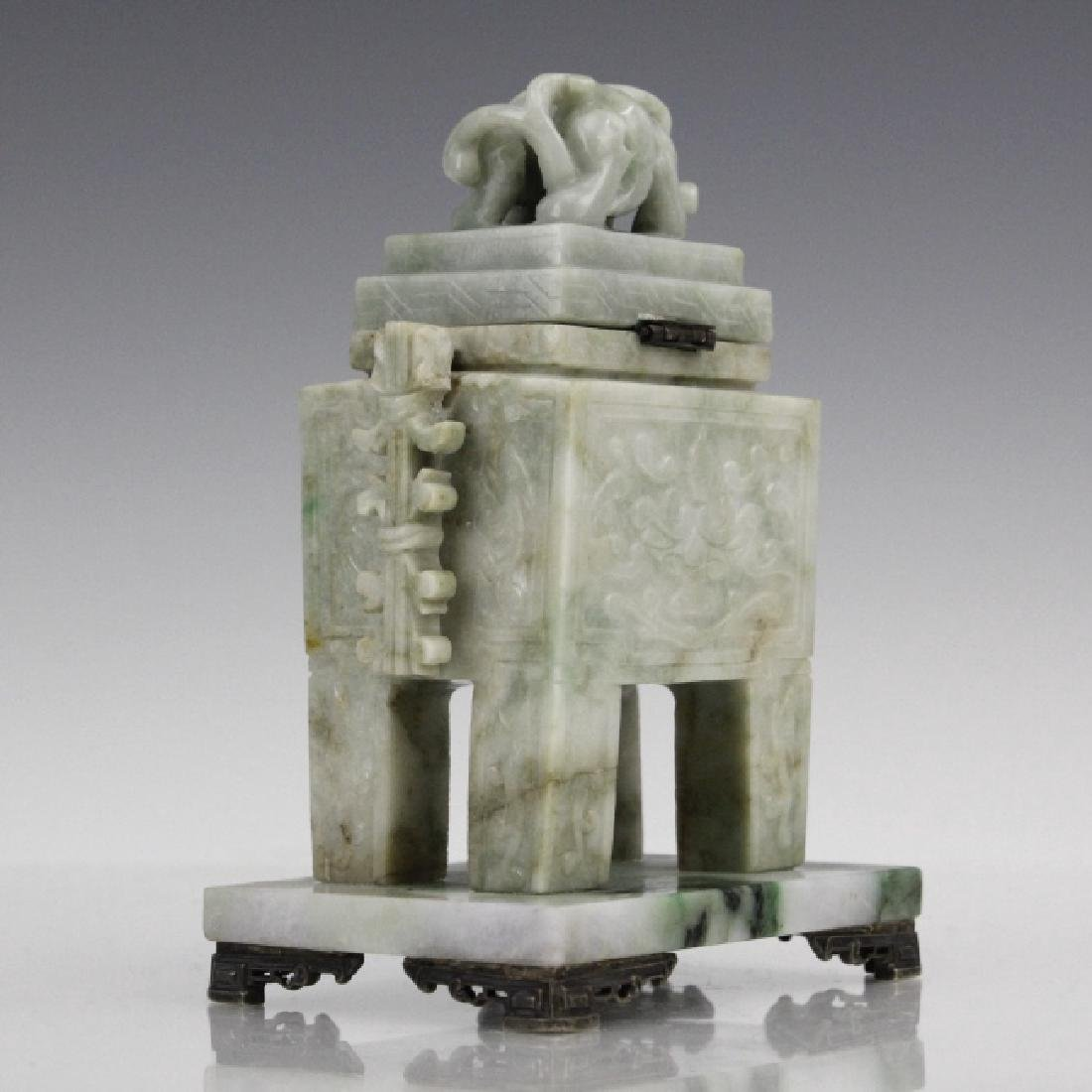 Yamanaka 19th C Carved Jade Sterling Ink Well - 4