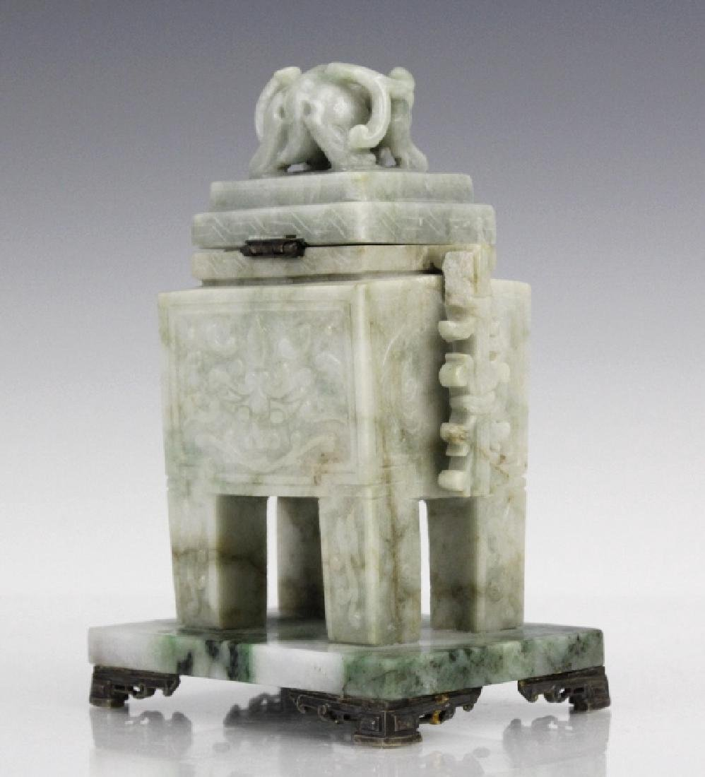 Yamanaka 19th C Carved Jade Sterling Ink Well - 5