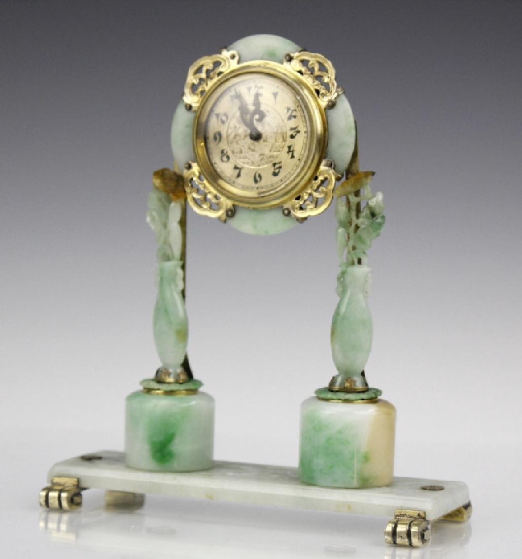 Edward Farmer Silver-gilt Jade Chinoiserie Clock