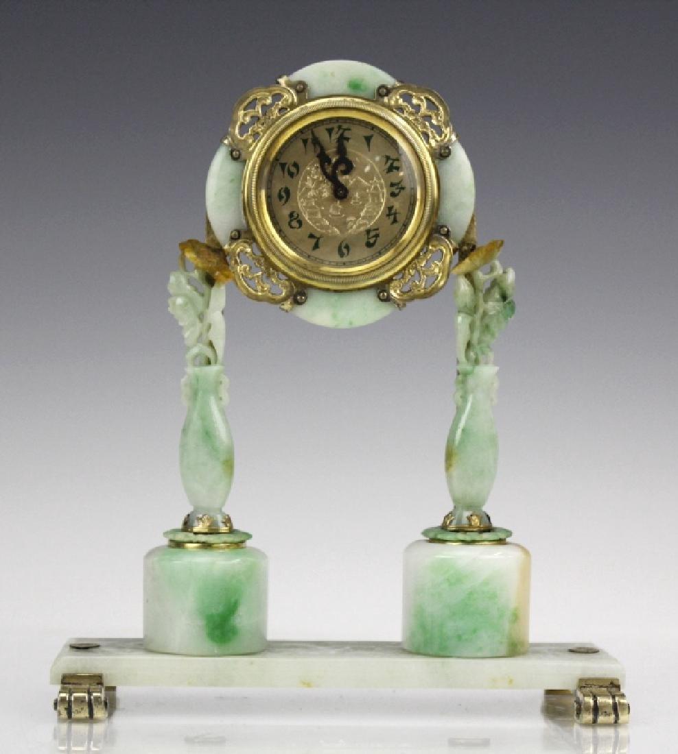 Edward Farmer Silver-gilt Jade Chinoiserie Clock - 2