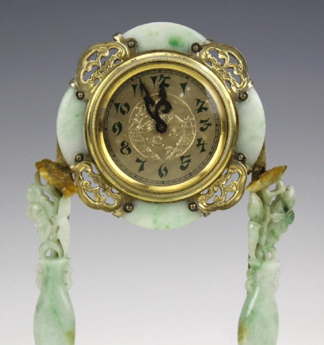 Edward Farmer Silver-gilt Jade Chinoiserie Clock - 3