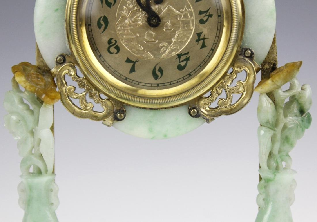 Edward Farmer Silver-gilt Jade Chinoiserie Clock - 4