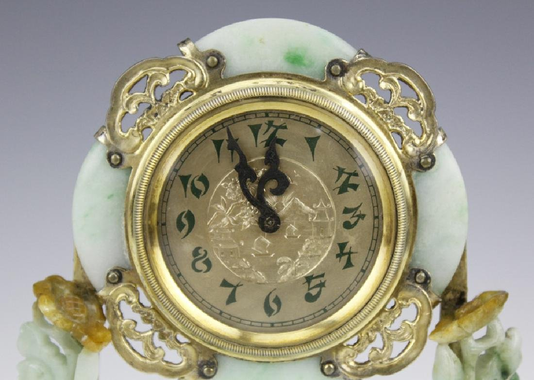 Edward Farmer Silver-gilt Jade Chinoiserie Clock - 5