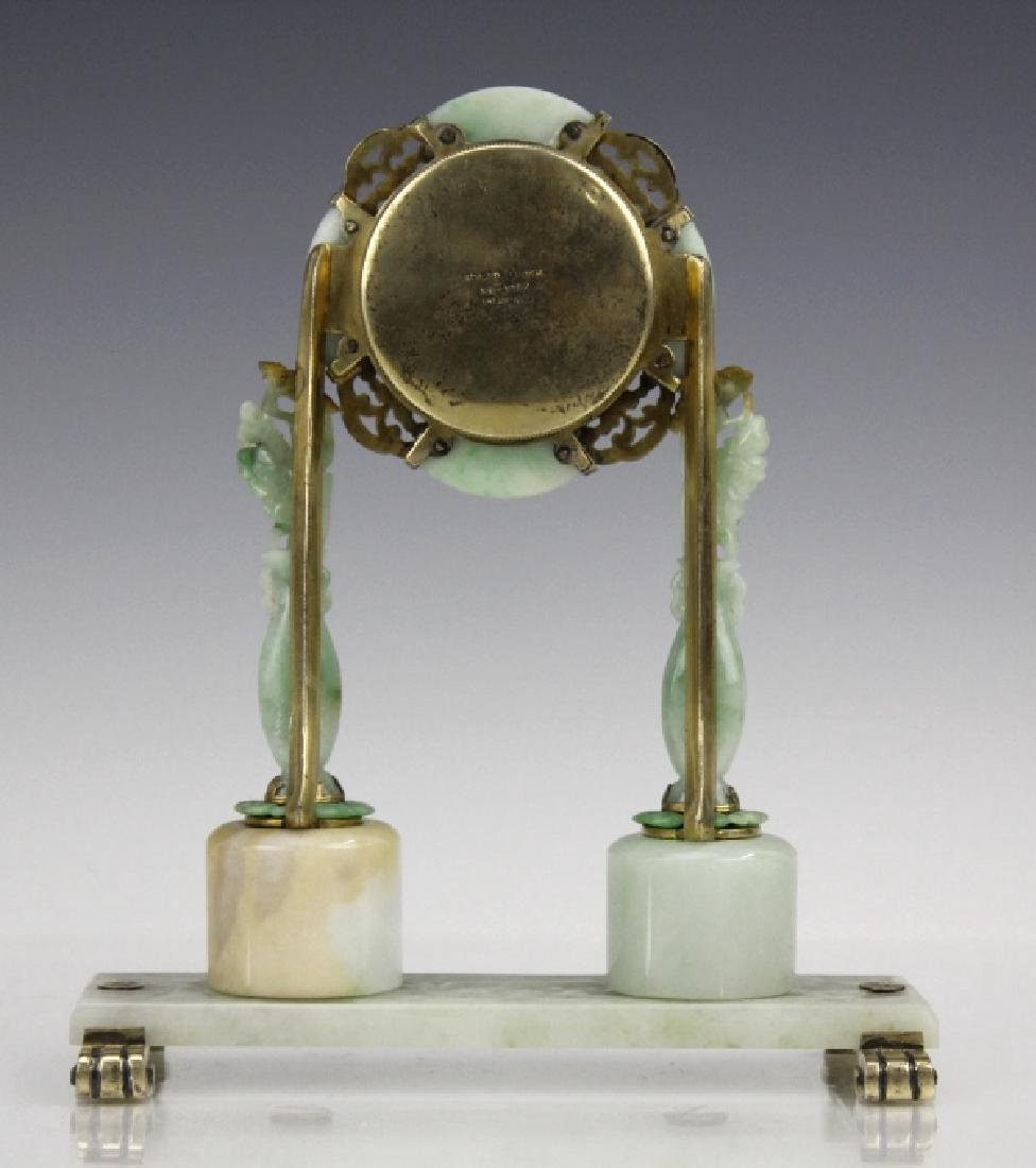 Edward Farmer Silver-gilt Jade Chinoiserie Clock - 7