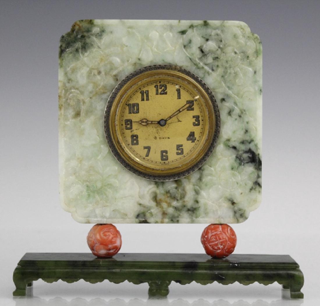 Yamanaka Jade And Coral Oriental Mantle Clock