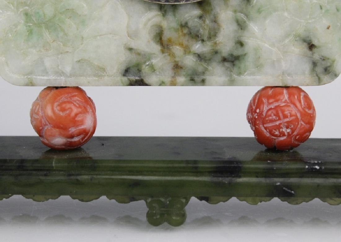 Yamanaka Jade And Coral Oriental Mantle Clock - 3
