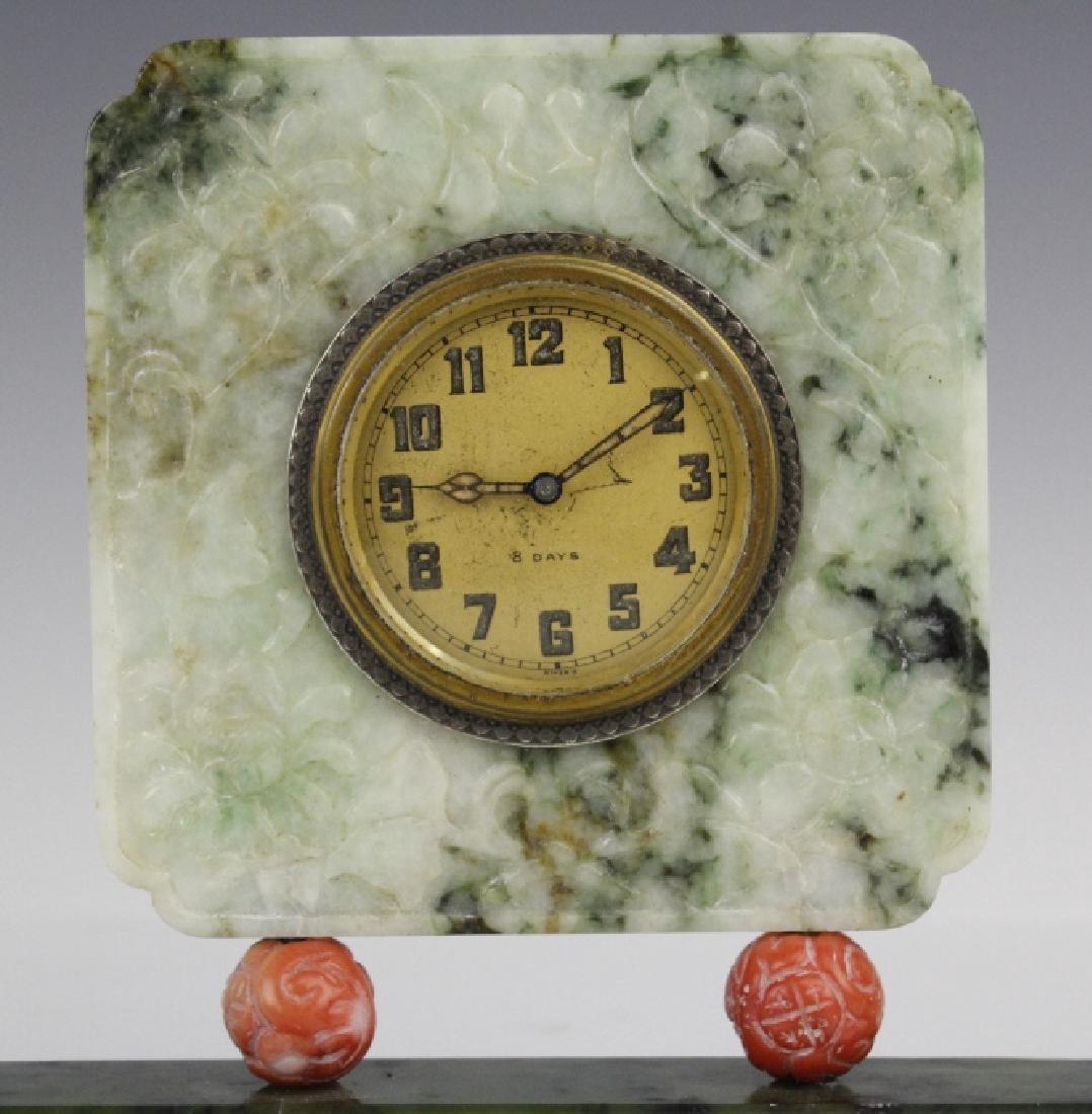 Yamanaka Jade And Coral Oriental Mantle Clock - 4