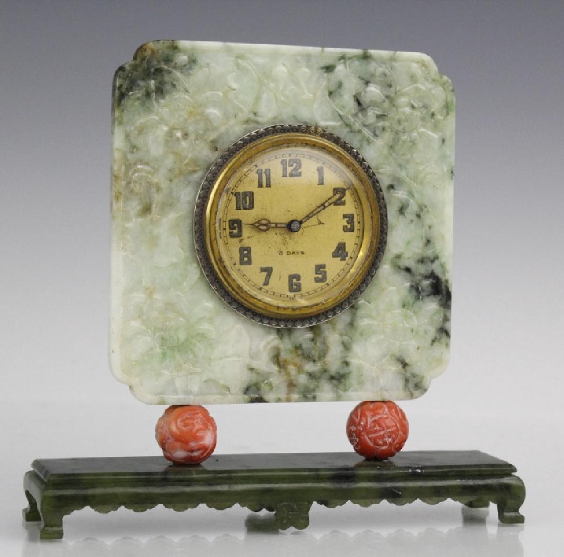 Yamanaka Jade And Coral Oriental Mantle Clock - 8