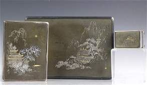 Japanese Sterling Silver Mixed Metals Smoking Set