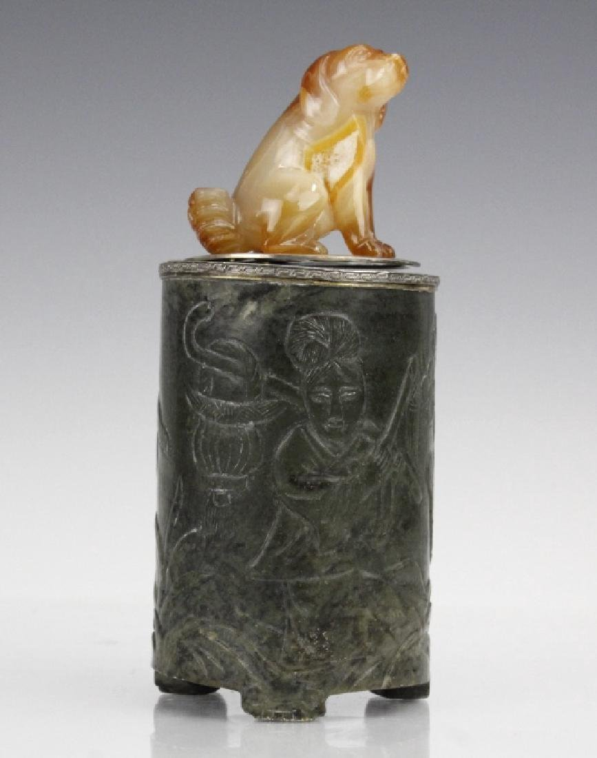 Yamanaka Agate Carved Dog Jade Sterling Table Box