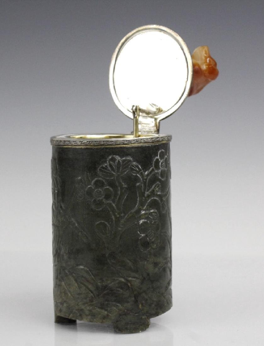 Yamanaka Agate Carved Dog Jade Sterling Table Box - 4