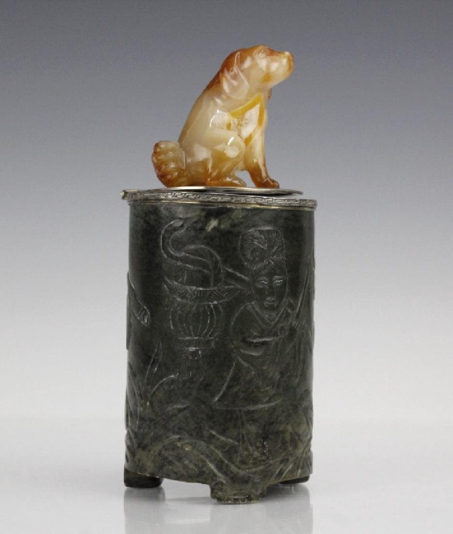 Yamanaka Agate Carved Dog Jade Sterling Table Box - 6