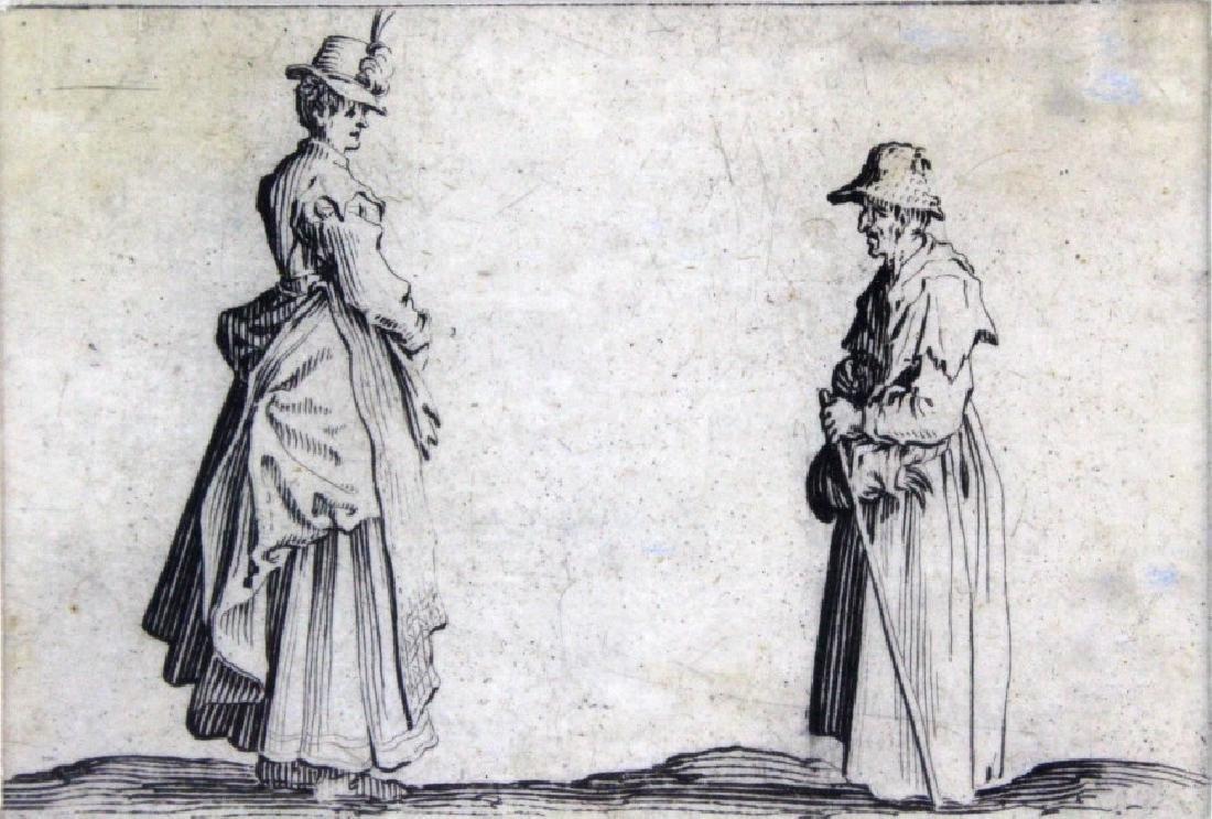 Jacques Callot 17th Century 2 Women Etching BASS MUSEUM