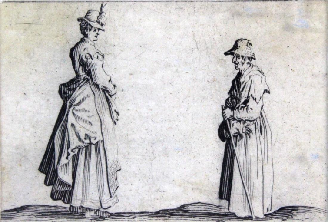 Jacques Callot 17th Century 2 Women Etching BASS MUSEUM