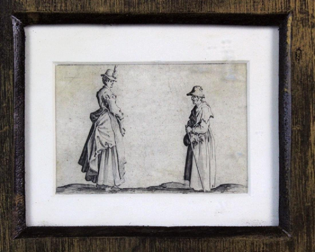 Jacques Callot 17th Century 2 Women Etching BASS MUSEUM - 4