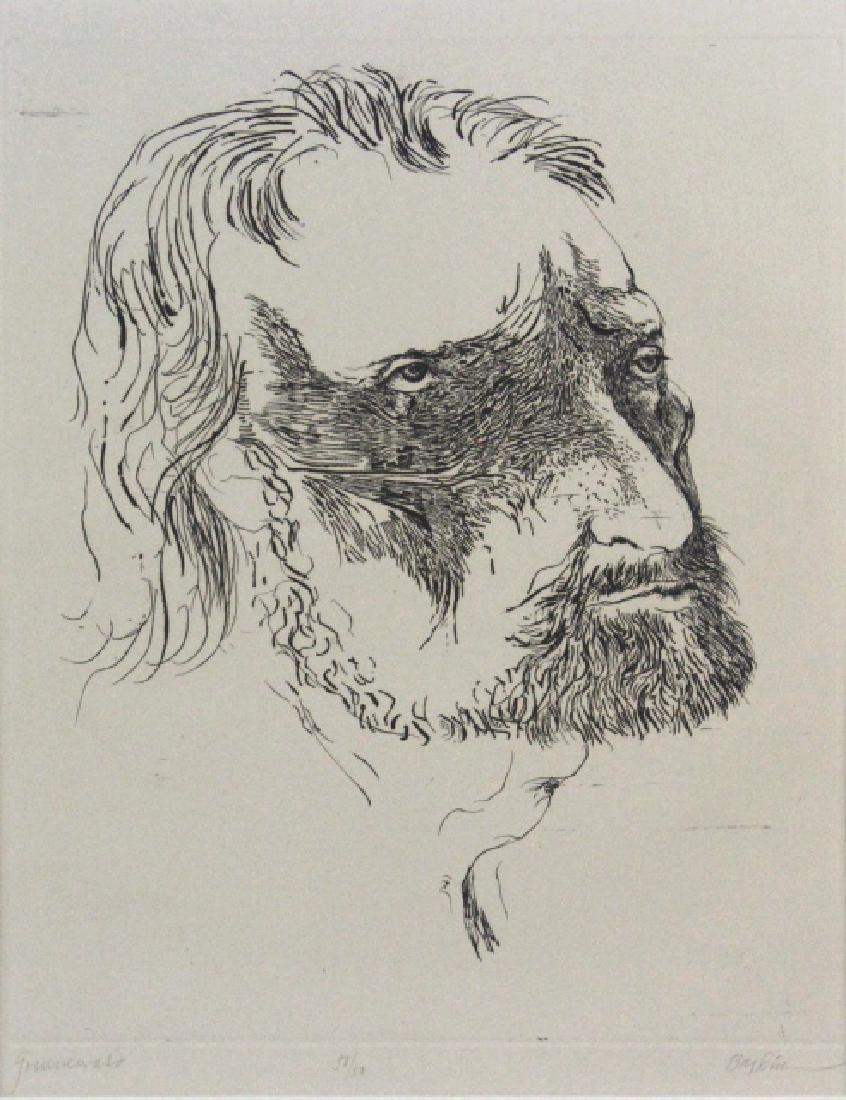 Leonard Baskin Etching Matthais Gruenewald BASS MUSEUM