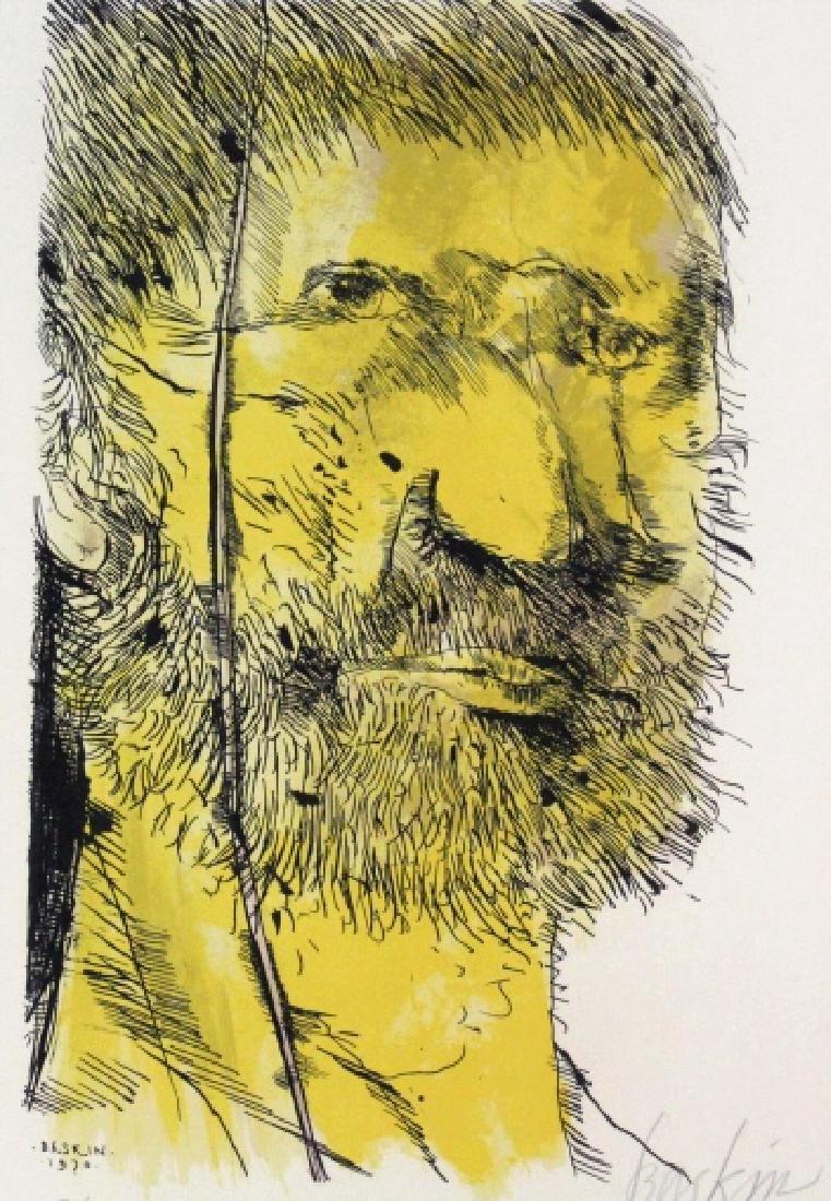 Leonard Baskin Signed Etching Captain Ahab BASS MUSEUM