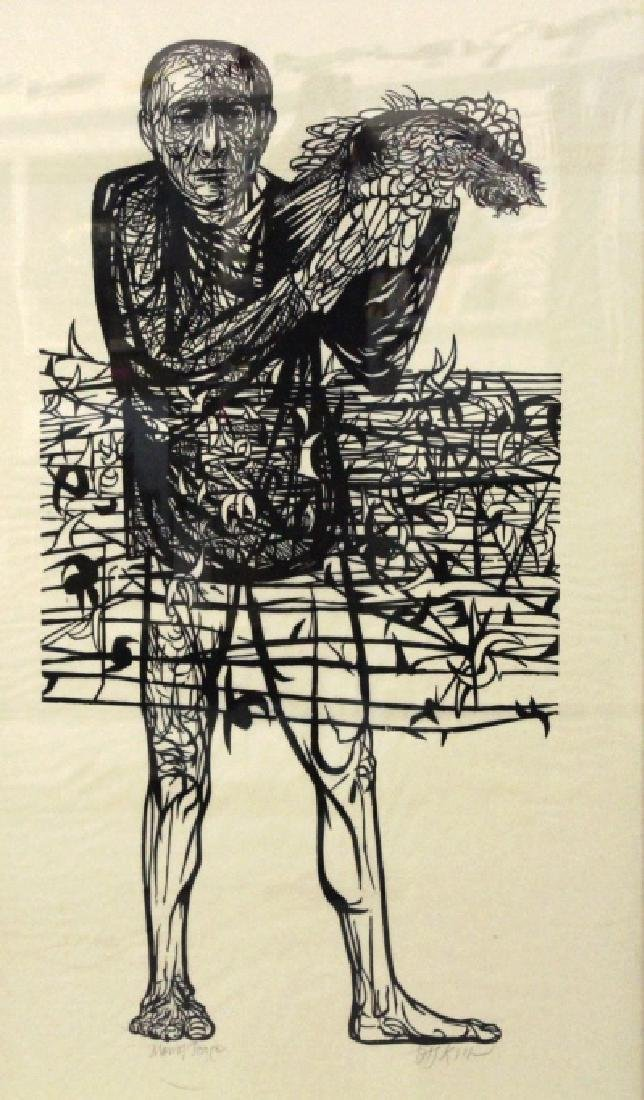 Leonard Baskin Man of Peace Woodcut from BASS MUSEUM
