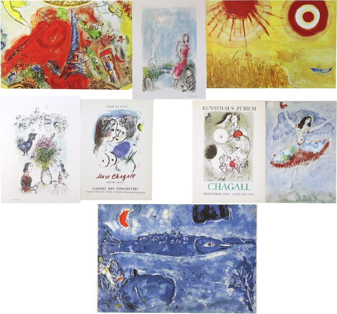 9 Marc Chagall Bookplate Color Lithographic Prints