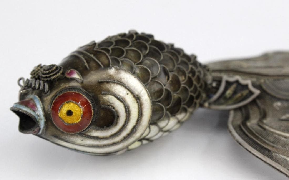 Chinese Silver Enamel Articulated Large Koi Fish - 2
