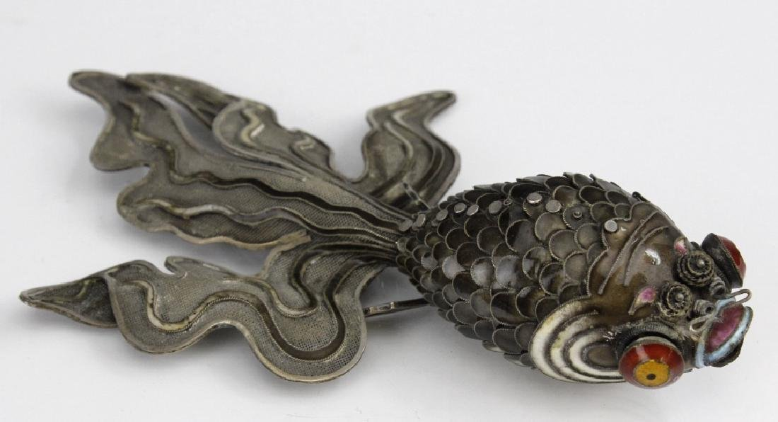 Chinese Silver Enamel Articulated Large Koi Fish - 4